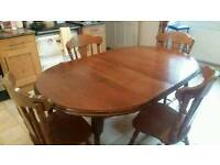 Real wood extending table & chairs