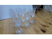 6 Waterford crystal sherry glasses