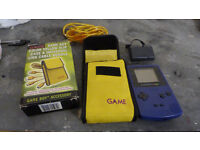 Game Boy Colour (Purple) with boxed link cable and a rechargeable battery