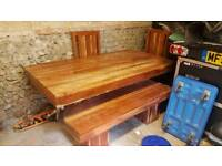 Wooden table and chairs/bench