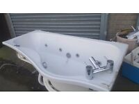 used jacuzzi bath with curved shower screen