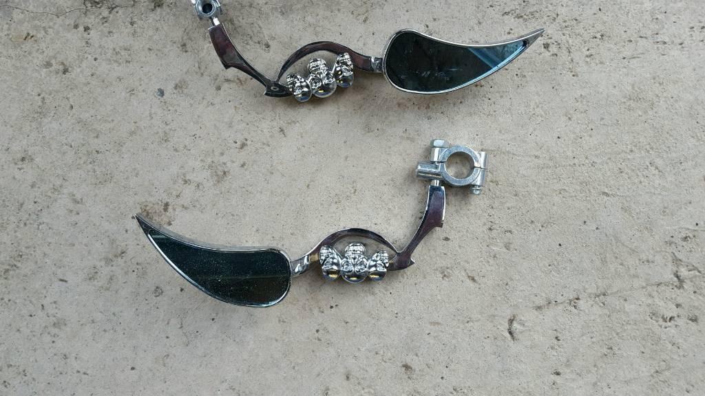 Motorbike skull wing mirrors