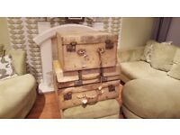 Vintage Retro Luggage Large Suitcases Trunk Chest Coffee Table Side Table Prop Ottoman
