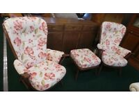 2 Vintage Mid Century Style Ercol Windsor Evergreen Armchairs Easy Lounge Chairs