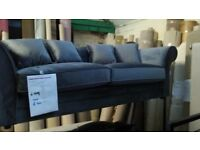 DESIGNER LUXE COLLECTION SAVANNAH 3 & 2 SEATER VELVET SOFA WITH SCATTER CUSHIONS