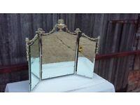 Heavy Metal Painted Iron Retro Vanity Dressing Table Mirror White Gold