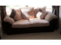 Brown and Cream with loose cushions sofa