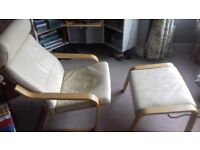 Ikea Poang Cream Leather Armchair and Footstool