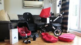 RED BUGABOO BUFFALO PRAM + MAXI COSI PEBBLE CAR SEAT & MANY EXTRAS-RRP£1260.00
