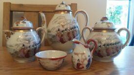 Tea set, toast rack & vases