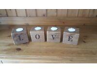Hand made, wood burnt writing tea light candle holders