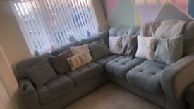 Duck egg blue corner sofa, poufee and 2 arm chairs