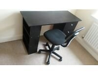 Very good quality and condition black desk and black chair for sale