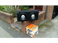 2 x 12 inch jbl subs brand new in box with vibe amp