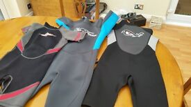 3 children's wetsuits- 2 x age 11 to 12; 1 x age 8