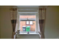 Dunelm Curtains x3, Tie Backs and Cushions