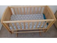 Mothercare Gliding Crib, Brand new Mattress and 3 fitted sheets.
