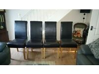 Four Chocolate Brown Leather Dinning Chairs