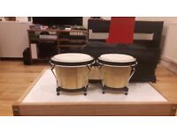 "Rockjam 7"" and 8"" Bongo Drums with Padded Bag - Natural colour"