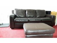 Brown leather 3 seater couch, armchair and foot stool