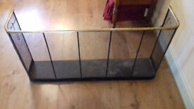 Antique Victorian Brass Iron & Wire NURSERY FIREGUARD / Fire Screen