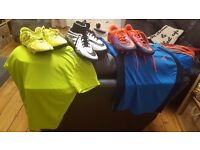 Boys sports wear ~ 11-12 year old 3 pairs of football shoes and 2 sports shirts