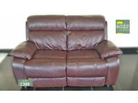 Designer Black cherry leather 2 seater sofa (171) £399