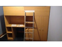 High Sleeper Cabin Bed with Warbrobe, Drawers, Shelves and Desk built in