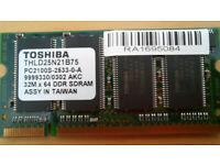 Genuine Toshiba Satellite Pro Laptop RAM Memory 256MB/ PC2100S/ DDR SDRAM/ SODIMM /THLD25N21B75