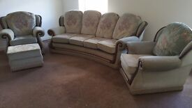 Large quality three piece suite, one rocker chair and foot stool