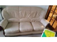 beautiful cream leather suete 3 and chair