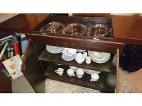 Vintage Hostess trolley with 3 dishes with lids
