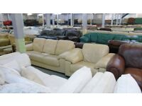 PRE OWNED 3 Seater + Armchair in Cream Leather