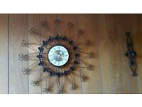 Wall clock and matching candle holders