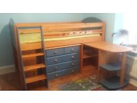 cabin bed mid sleeper with desk and chest of drawers + wardrobe GRATIS