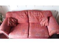 3 Piece suite for sale. Terracotta/ reddish colour.