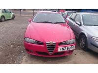 2004 ALFA ROMEO 156 JTD, 1.9 DIESEL, BREAKING FOR PARTS ONLY, POSTAGE AVAILABLE NATIONWIDE