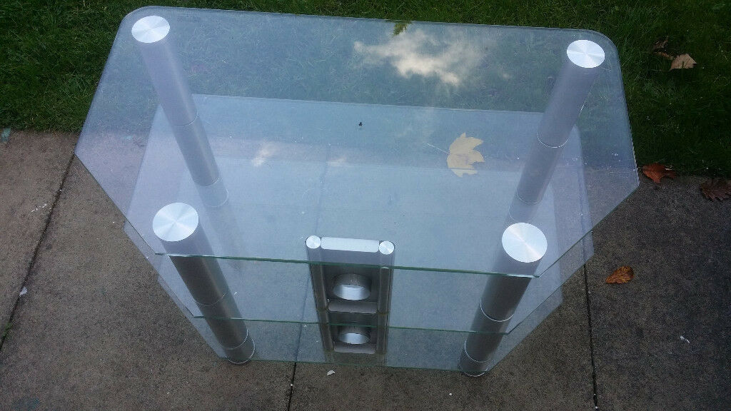 Glass table for TV