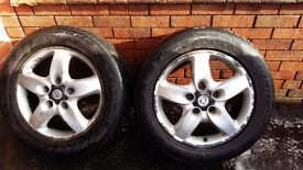 Porsche cayenne wheels - good tyres all 4mm plus. One edge slightly scrubbed but still road legal