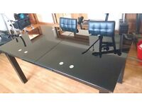 Extending Black Glass dining table and chairs