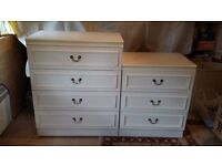 Two Sets of White Bedroom Drawers .