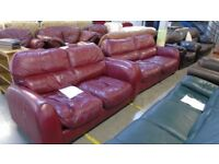 PRE OWNED Burgundy Leather 3 + 2 Seater Sofas