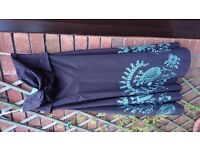 BNWOT Size 12 Coast Strapless Dark Brown Midi Evening Dress with Teal Cutwork/Sequin Detail