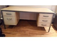 Office Desk in Light Oak with filing drawer and 3 lockable drawers approx 1.8m long by 1m wide.