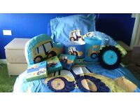 Kids digger bed set with matching curtains and assessories (Next).
