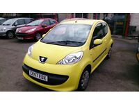 2007(57) PEUGEOT 107 URBAN 1.0L 3 DOOR IN YELLOW ONLY 69K NEW SERVICE NEW MOT £20 TAX CD E/W R/C/L