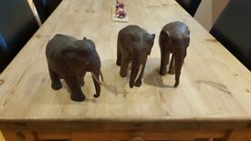 set of 3 hand carved antique indian elephants with tusks in tact