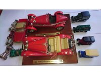 Set of 11 Antique toy collectable different Cars: Mercedes Benz, Alpha Romeo, Store cars. AVAILABLE