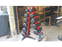 **New 180 kg Rubber Hex Dumbbells set inclunding Rack crossift gym boxing weights heavy duty