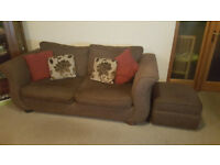 Sofa suite set, 1x 3 seater, 1x 2 seater sofa bed and storage footstool, cushions included DFS Brown